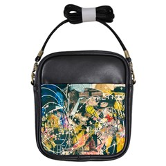 Art Graffiti Abstract Vintage Lines Girls Sling Bags