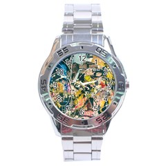 Art Graffiti Abstract Vintage Lines Stainless Steel Analogue Watch