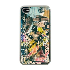 Art Graffiti Abstract Vintage Lines Apple Iphone 4 Case (clear)
