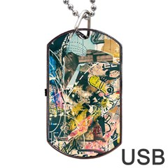 Art Graffiti Abstract Vintage Lines Dog Tag Usb Flash (one Side)