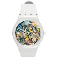 Art Graffiti Abstract Vintage Lines Round Plastic Sport Watch (m)