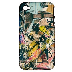 Art Graffiti Abstract Vintage Lines Apple Iphone 4/4s Hardshell Case (pc+silicone)