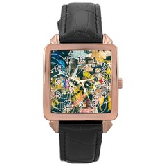 Art Graffiti Abstract Vintage Lines Rose Gold Leather Watch