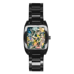 Art Graffiti Abstract Vintage Lines Stainless Steel Barrel Watch