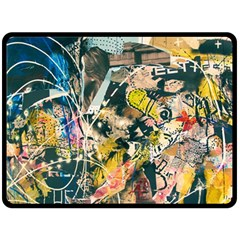 Art Graffiti Abstract Vintage Lines Double Sided Fleece Blanket (large)