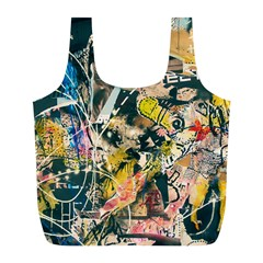 Art Graffiti Abstract Vintage Lines Full Print Recycle Bags (l)