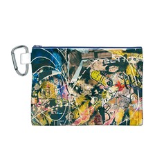 Art Graffiti Abstract Vintage Lines Canvas Cosmetic Bag (m)