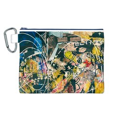 Art Graffiti Abstract Vintage Lines Canvas Cosmetic Bag (l)