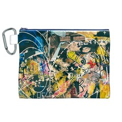 Art Graffiti Abstract Vintage Lines Canvas Cosmetic Bag (xl)
