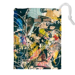 Art Graffiti Abstract Vintage Lines Drawstring Pouches (XXL)