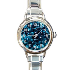 Blue Abstract Balls Spheres Round Italian Charm Watch