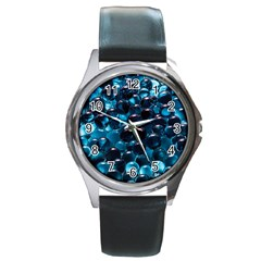 Blue Abstract Balls Spheres Round Metal Watch