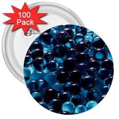 Blue Abstract Balls Spheres 3  Buttons (100 Pack)