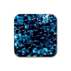 Blue Abstract Balls Spheres Rubber Coaster (square)