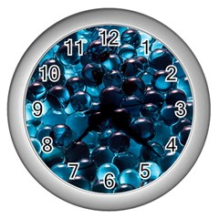 Blue Abstract Balls Spheres Wall Clocks (silver)