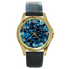 Blue Abstract Balls Spheres Round Gold Metal Watch
