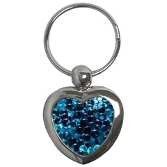 Blue Abstract Balls Spheres Key Chains (heart)