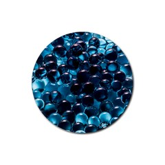 Blue Abstract Balls Spheres Rubber Coaster (round)