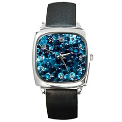 Blue Abstract Balls Spheres Square Metal Watch