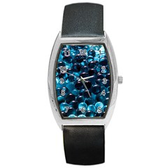 Blue Abstract Balls Spheres Barrel Style Metal Watch