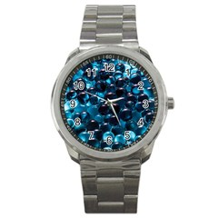 Blue Abstract Balls Spheres Sport Metal Watch