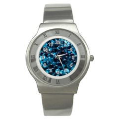 Blue Abstract Balls Spheres Stainless Steel Watch