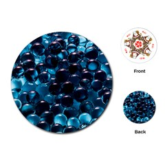Blue Abstract Balls Spheres Playing Cards (round)