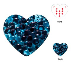 Blue Abstract Balls Spheres Playing Cards (heart)