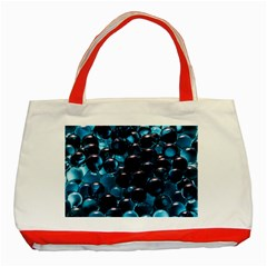 Blue Abstract Balls Spheres Classic Tote Bag (red)