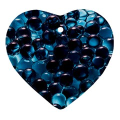 Blue Abstract Balls Spheres Heart Ornament (2 Sides)