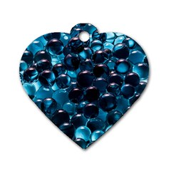 Blue Abstract Balls Spheres Dog Tag Heart (two Sides)