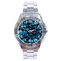 Blue Abstract Balls Spheres Stainless Steel Analogue Watch