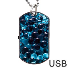 Blue Abstract Balls Spheres Dog Tag Usb Flash (one Side)