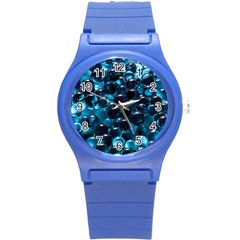 Blue Abstract Balls Spheres Round Plastic Sport Watch (s)