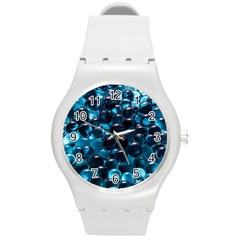 Blue Abstract Balls Spheres Round Plastic Sport Watch (m)