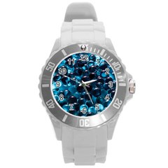 Blue Abstract Balls Spheres Round Plastic Sport Watch (l)