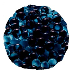 Blue Abstract Balls Spheres Large 18  Premium Round Cushions