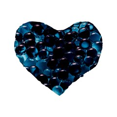 Blue Abstract Balls Spheres Standard 16  Premium Heart Shape Cushions