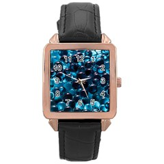 Blue Abstract Balls Spheres Rose Gold Leather Watch