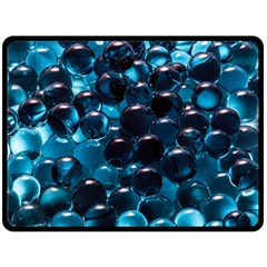 Blue Abstract Balls Spheres Double Sided Fleece Blanket (large)