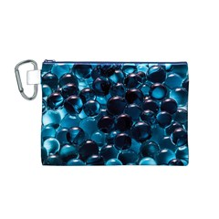 Blue Abstract Balls Spheres Canvas Cosmetic Bag (m)