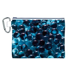 Blue Abstract Balls Spheres Canvas Cosmetic Bag (l)