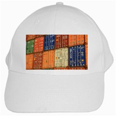 Blue White Orange And Brown Container Van White Cap