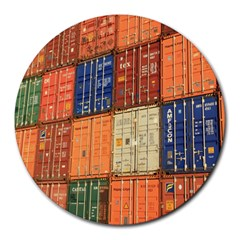 Blue White Orange And Brown Container Van Round Mousepads