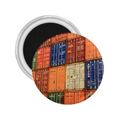 Blue White Orange And Brown Container Van 2 25  Magnets