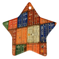Blue White Orange And Brown Container Van Ornament (star)