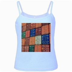 Blue White Orange And Brown Container Van Baby Blue Spaghetti Tank