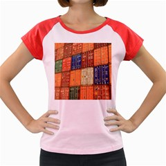 Blue White Orange And Brown Container Van Women s Cap Sleeve T Shirt