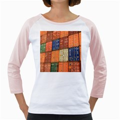 Blue White Orange And Brown Container Van Girly Raglans