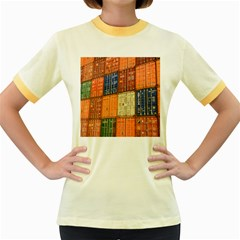 Blue White Orange And Brown Container Van Women s Fitted Ringer T Shirts